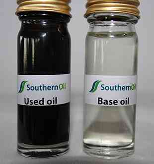 Left - contaminated base oil. Right - clean lube oil.